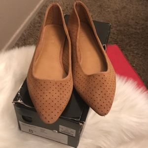 J. Crew Amelia ferforated suede flats burnt sienna